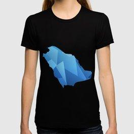 SAUDI ARABIA MAP IN BLUE SHINY DESIGN السعودية T-shirt