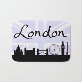 London Script on Union Jack Sky & Sites Purple Bath Mat