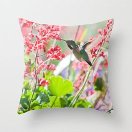 Hummingbird drinking Coral Bell Flowers by CheyAnne Sexton Throw Pillow