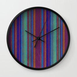 Purple Primitive Grunge Stripe Wall Clock