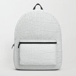 White Crocodile Realistic Skin Print Backpack