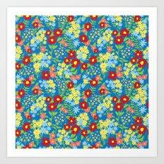 Blue Floral Pattern Art Print
