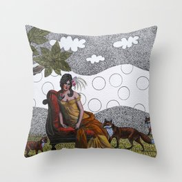 Lady with foxes Throw Pillow