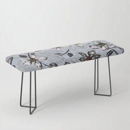 Botanical Pattern on Grey Background Bench