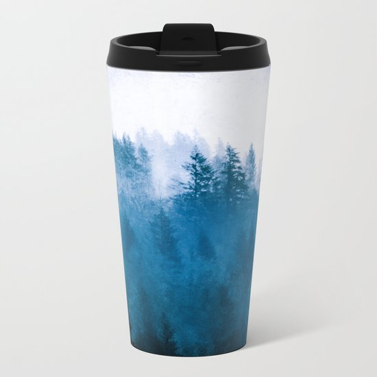 Blue Winter Day Foggy Trees Metal Travel Mug