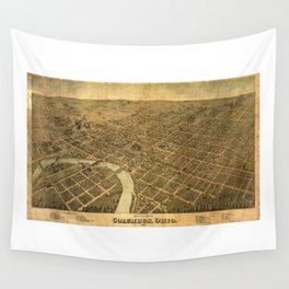 Birds eye view of Columbus, Ohio (1872) Wall Tapestry