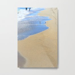 seascape 005: father, son, & 2 sandpipers Metal Print