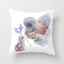 Silkie Chickens Mama and Chick Throw Pillow