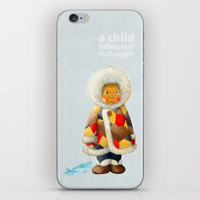 a child being lost in thought iPhone Skin