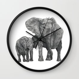 African Elephant and Calf Wall Clock