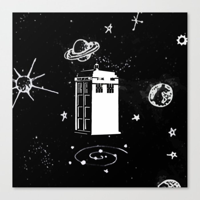 tardis black and white universe Canvas Print