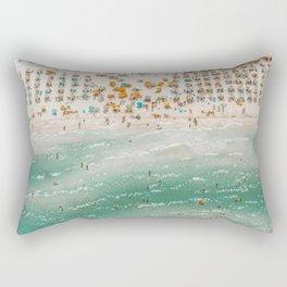 Vintage summer beach crowd aerial view  Rectangular Pillow