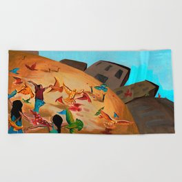 Happy children with Painted birds children's book Illustration Beach Towel