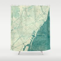 vintage map Shower Curtains featuring Barcelona Map Blue Vintage by City Art Posters