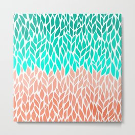 Leaves Teal and Coral Ombre Metal Print