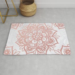 Rose Gold Mandalas on Marble Rug