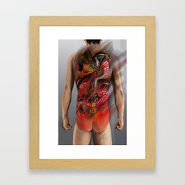 Dragon and fudomyo Sword bodysuit tattoo design  Framed Art Print