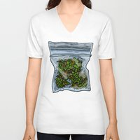 cannabis V-neck T-shirts featuring illustrated gram of cannabis by HiddenStash Art