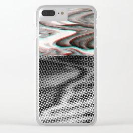 White Noise / Landscape / Gold Glitch #3 Clear iPhone Case