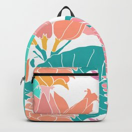 Coral Ginger Flowers + Elephant Ears in White Backpack