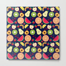 Fruit pattern vector illustration colorful Metal Print