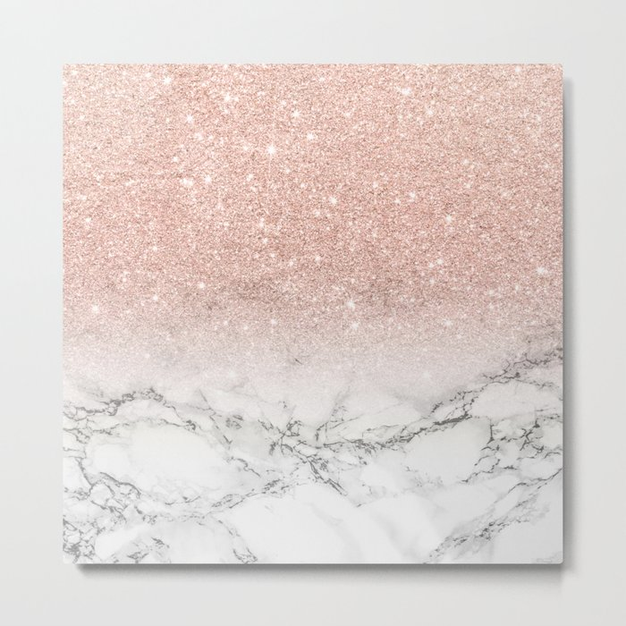Modern faux rose gold pink glitter ombre white marble Metal Print