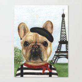 Chapo the French Bulldog in Paris Canvas Print
