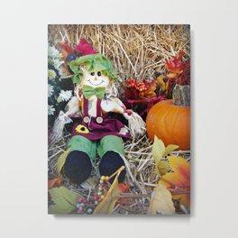 Little Miss Scarecrow Metal Print