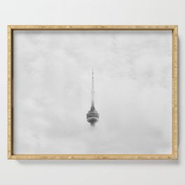 CNN TOWER IN CANADA SURROUNDED BY CLOUDS Serving Tray