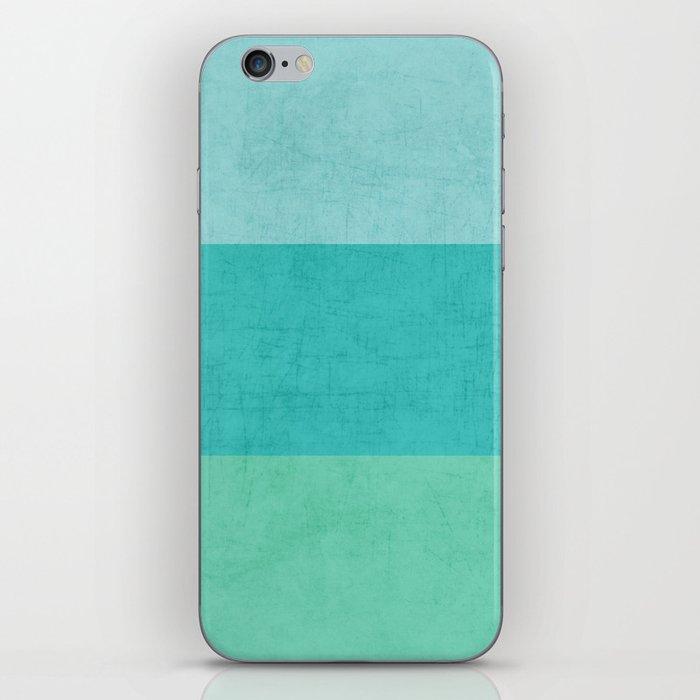three stripes - teal iPhone Skin