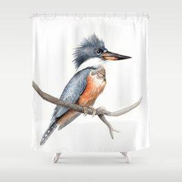 Kingfisher Bird Watercolor Illustration Shower Curtain
