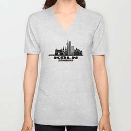 Cologne Zündorf Germany Skyline Unisex V-Neck