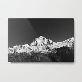 Monochrome Black and White Himalaya Mountain Range. Annapurna, Nepal. Nature Photography. Metal Print