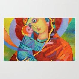 Virgin Mary Painting Madonna and Child Jesus icon Modern Catholic Religious Rug