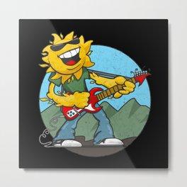 Retro Rockin' Sun Metal Print