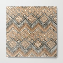 beaded chevron apricot Metal Print