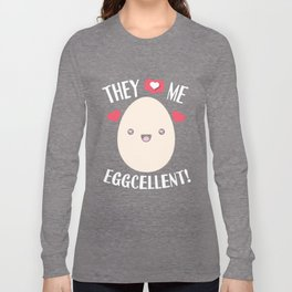 Egg Rekord Eggcellent word game Kawaii gift Long Sleeve T-shirt