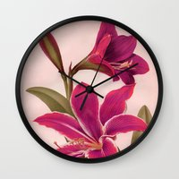 vintage floral Wall Clocks featuring Vintage Floral by 83 Oranges™