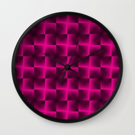 Rotated rhombuses of pink crosses with shiny intersections. Wall Clock