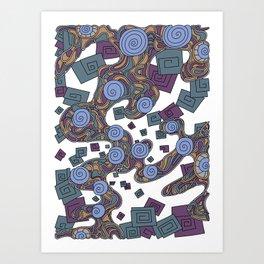 Wandering Abstract Line Art 29: Blue Art Print