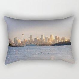 A flock of birds flies over the sea Rectangular Pillow