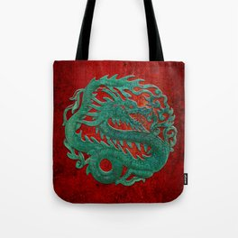 Wooden Jade Dragon Carving on Red Background Tote Bag