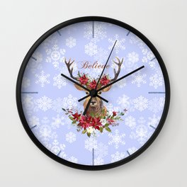Believe Typography Christmas Deer Head Poinsettia Wall Clock