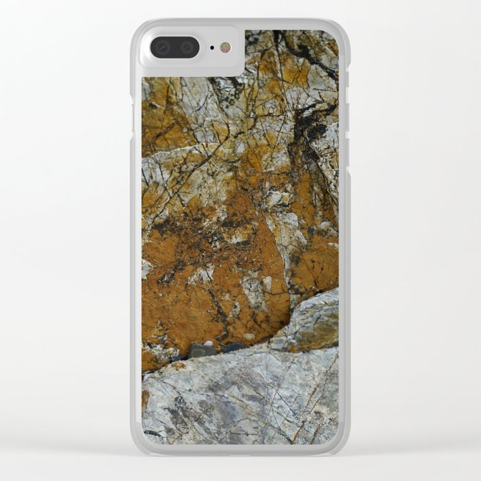 Cornish Headland Cracked Rock Texture with Lichen Clear iPhone Case