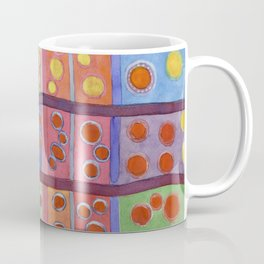 Colorful Grid Pattern with Numerous Circles Coffee Mug