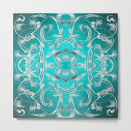silver in mint Digital pattern with circles and fractals artfully colored design for house Metal Print