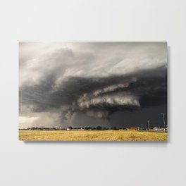 Ominous - Storm Looms Over Small Town In Oklahoma Metal Print