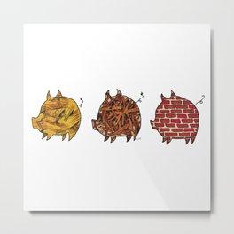Three Little Pigs | @makemeunison Hand Drawn Art Metal Print