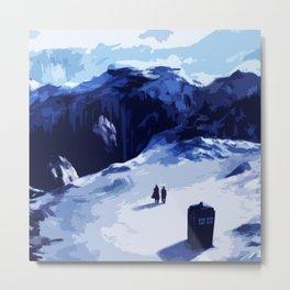 Tardis In The Snow Mountain Metal Print
