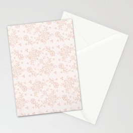 Elegant pink white pastel color chic floral lace Stationery Cards